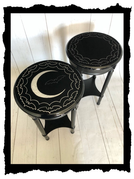 Dark Decor, Crescent Moon, Gothic Furniture, Gothic Table, Witchy Decor, Accent Table, Moon Phase, Bat  Accent Table