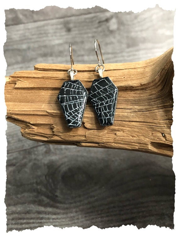 Coffin Earrings, Spider Web Earrings, Spider Web Jewelry, Real Spider Web Jewelry, Real Spider Web, Spider Web Earrings, Gothic Earrings
