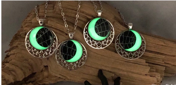 Glow in the Dark, Spider Web Necklace, Spider Web Pendant, Gothic Necklace,  Halloween Pendant, Real Spider Web, Halloween Jewelry