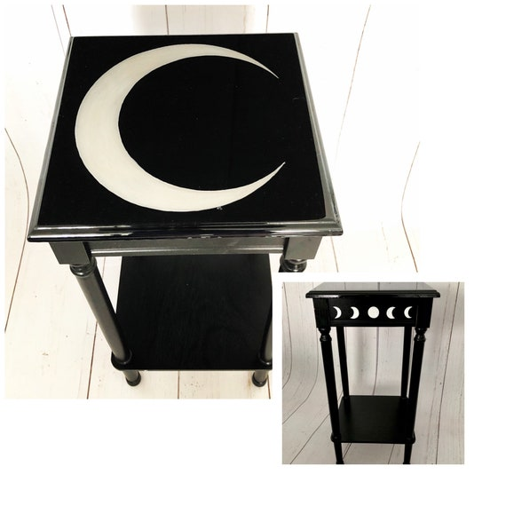 Dark Decor, Crescent Moon, Gothic Furniture, Gothic Table, Witchy Decor, Accent Table