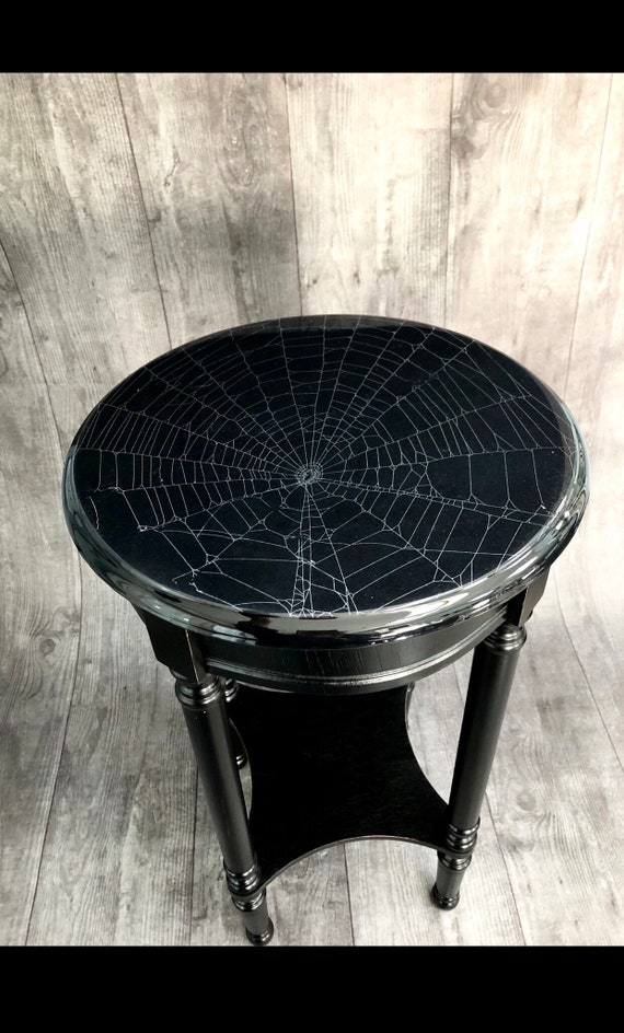 Dark Decor, Spider Web Table, Real Preserved Spider Web, Gothic Furniture, Gothic Table, Spider Web, Witchy Decor, Accent Table, Round Table