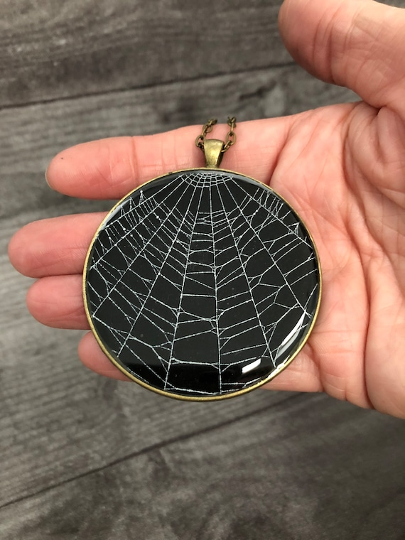 Spider Web Necklace, Spider Web Pendant, Gothic Necklace,  Halloween Pendant, Real Spider Web, Spider Web Jewelry, Gothic Jewelry