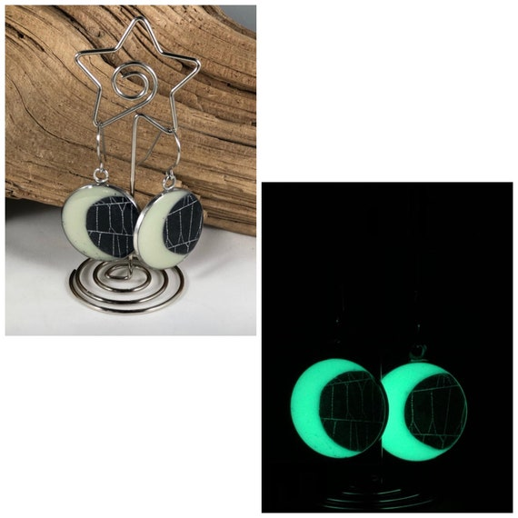 Spider Web Earrings, Spider Web Jewelry, Real Spider Web, Glow in the Dark, Crescent Moon Earrings, Gothic Earrings, Halloween Jewelry