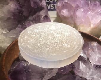Flower of Life, Metatrons Cube combined Crystal charging plate, Sacred Geometry, Selenite crystal grid