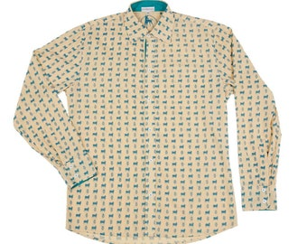 Sacred Cow & Hamsa Cotton Shirt / Mens Clothing / Ibiza Style / Designer Island Luxury Life / Long Sleeve Summer Shirt / Tropical Print Y9TPGlRe7v