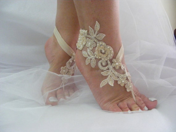bbf96caa4 Champagne Barefoot Sandals Beach Wedding Barefoot Sandals