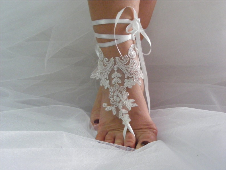 e2c844a48ac04 Glitter Threaded Ivory Ballerina Barefoot Sandals, Beach Wedding Sandals,  Wedding Anklets, Summer Wear, Wrist Sandals, Embroidered Sandals