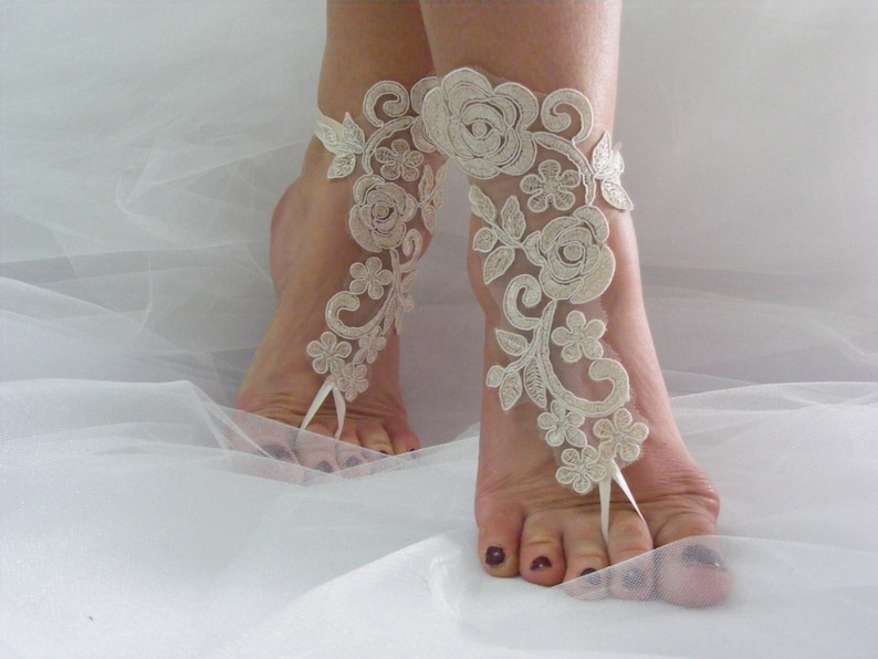Embroidered Sandal Champagne Lace Barefoot Sandals Nude Glittery Shoes Wedding Anklets Beach Wedding Barefoot Sandals Wrist Sandals