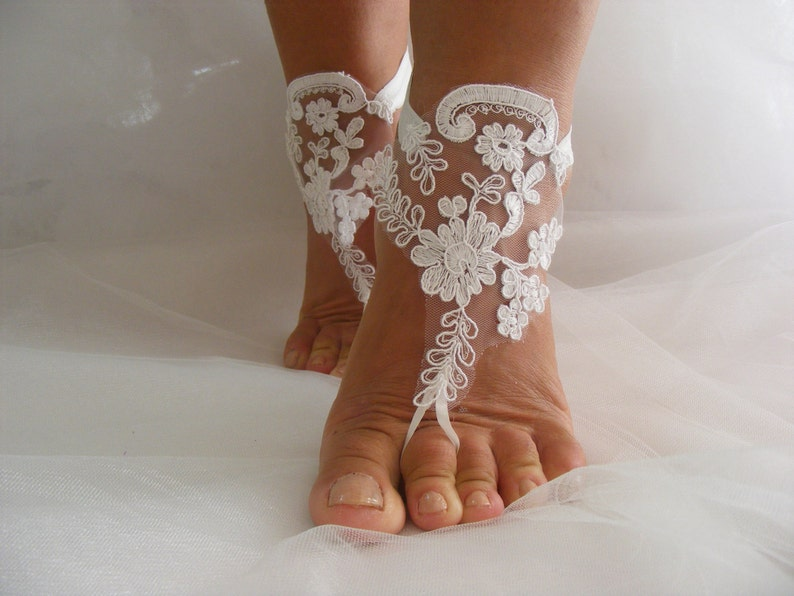 4b761b2f71185 White Lace OOAK Barefoot Sandals, Beach Wedding Sandals, Wedding Anklets,  Summer Wear, Wrist Sandals, Embroidered Sandals