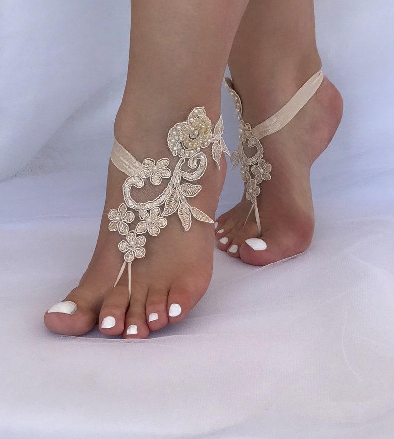 3e60e9fe89a66 Champagne Beach Wedding Barefoot Sandals 6 Color Options