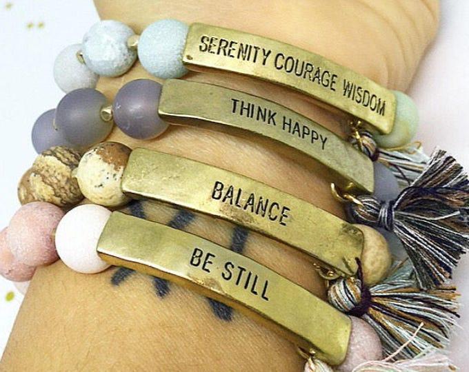 Inspirational Bracelets Gemstone Bracelets Stamped Bracelets