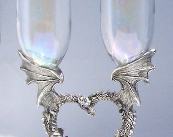 Dragon Heart Pair toasting flutes