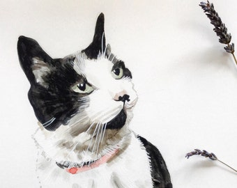 Custom cat portrait painting, commission from photo cat watercolour, hand painted pet portrait for cat lovers!