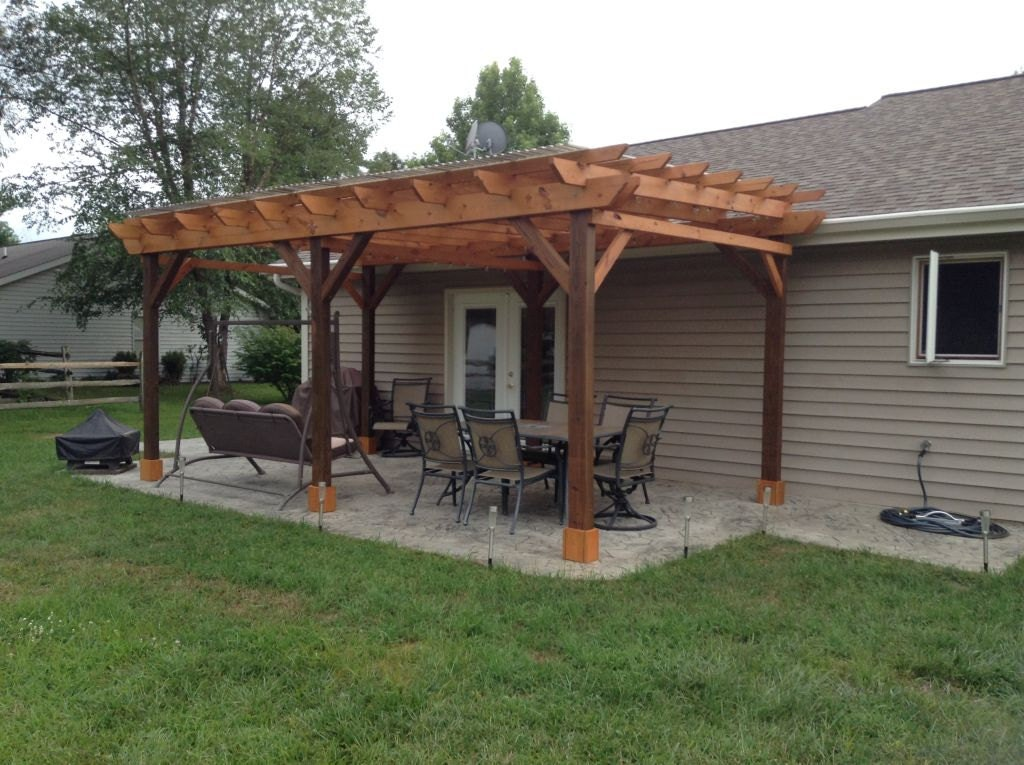 Covered Pergola Plans 12x20' Build DIY Outside Patio Wood ...