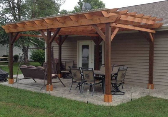 Covered Pergola Plans 12x24 Outside Patio Wood Design Etsy