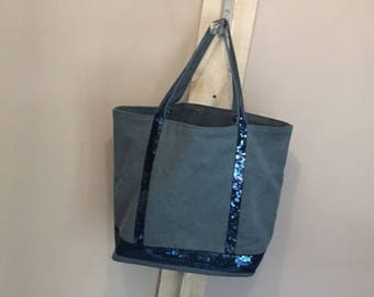 Large blue canvas tote