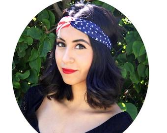 American Flag Headband, USA Headband, America Headband, USA Turban,4th of July Headband, 4th of July, Americana, Buy Today Ship Today