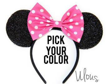 Polka Dot Minnie Ears, Minnie Mouse Ears, Polka Dot Mickey Ears, Mickey Ears,Minnie Mouse Party Hat, Mouse Ears, Pink Minnie Ears, Minnie