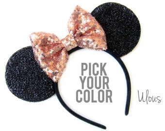 Gold Mickey Ears, Sparkly Mickey Ears, Rose Gold Minnie Ears, Rose Gold Ears, Minnie Ears, Rose Gold Mickey Ears,Gold Minnie Ears, Mouse Ear