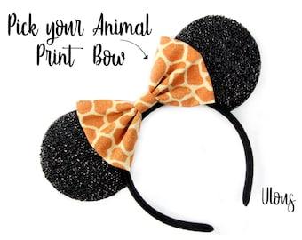 Giraffe Mickey Ears, Animal Print Mickey Ears, Giraffe Minnie Ears, Animal Kingdom Mickey Ears, Lion King Mickey Ears, Jungle Cruise Ears