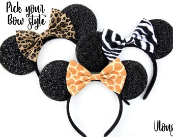 Zebra Mickey Ears, Animal Print Mickey Ears, Zebra Minnie Ears, Animal Kingdom Mouse Ears, Lion King Mickey Ears, Jungle Cruise Mickey Ears