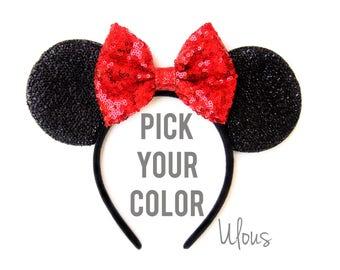Red Minnie Mouse Ears, Sparkly Minnie Ears, Sparkly Minnie Ears, Minnie Mouse Ears, Minnie Mouse Party, Mickey Ears, Disney Ears, Disney