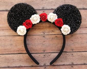 Flower Mickey Ears, Floral Mickey Ears, Christmas Mickey Ears, Holiday Mickey Ears, Flower Mouse Ears, Disney Ears, Disneyland Ears, Ears