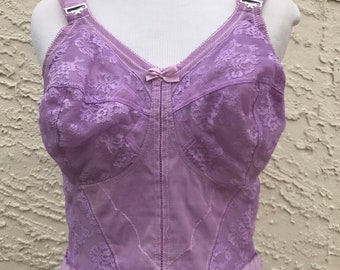 02c29412e46 38D Upcycled Lavender Corset Pastel Purple Longline Bustier Nylon Lace  Wireless ~ Pinup Burlesque Fetish Pinup Cosplay Fairy kei Kawaii