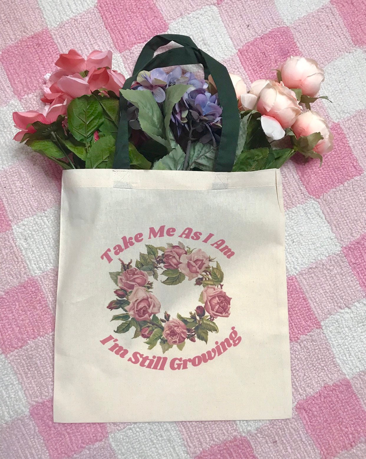 I M Still Growing Tote Bag Vintage Imagery Cute Pink Etsy
