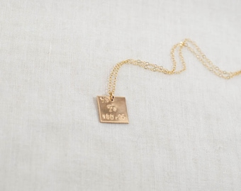 Atomic element etsy custom periodic table element necklace 14k gold filled initial atomic number name science symbol square hand stamped urtaz Gallery