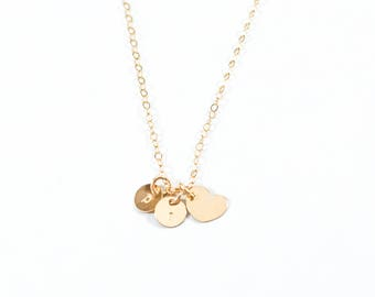 Custom sweetheart necklace. gold filled. bf gf couple's jewelry. personalized necklace darlings. dainty discs and heart. for sweethearts
