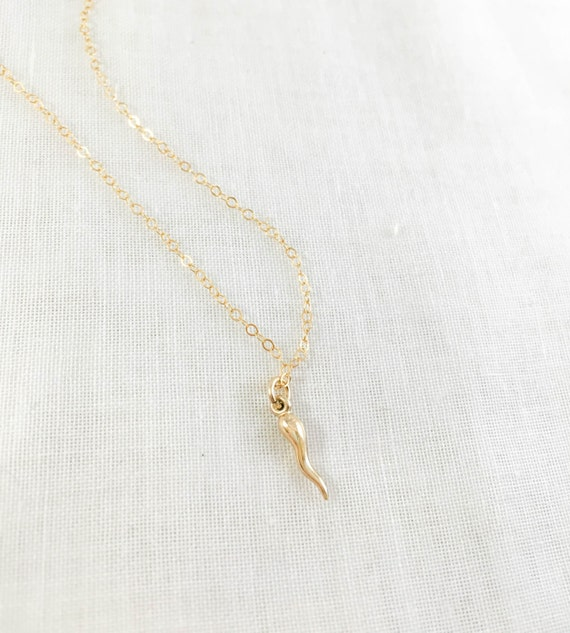 Italian Horn Necklace 14k Gold Filled Talisman Protection Etsy
