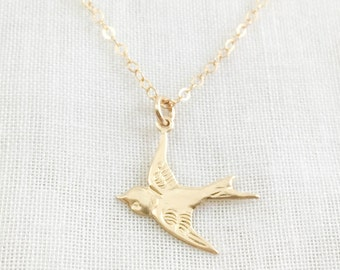 Bird Necklace. gold filled. gold songbird. nightingale sparrow lark Ornithology. for bird enthusiasts. bird watching. mother's day gift