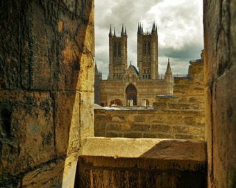 English Travel photography, Lincoln Cathedral UK , View from Lincoln Castle,