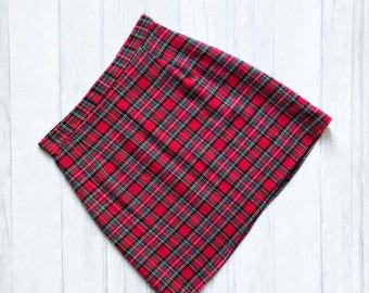 Handmade red tartan high waisted skirt. UK sizes 4-18 (US 0-14)