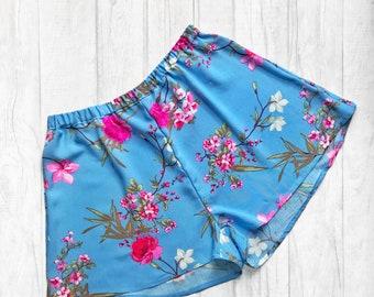 Handmade blue blossom print high waisted shorts. UK sizes 4-18 (US sizes 0-14).