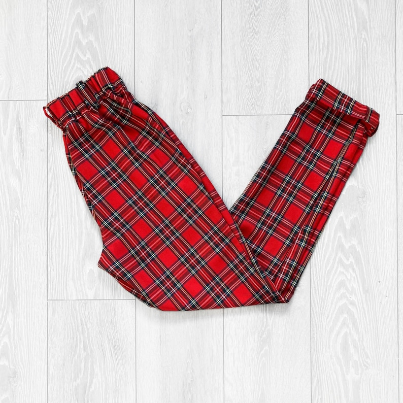 Red tartan check high waisted trousers handmade to order. US 0-14 UK sizes 4-18