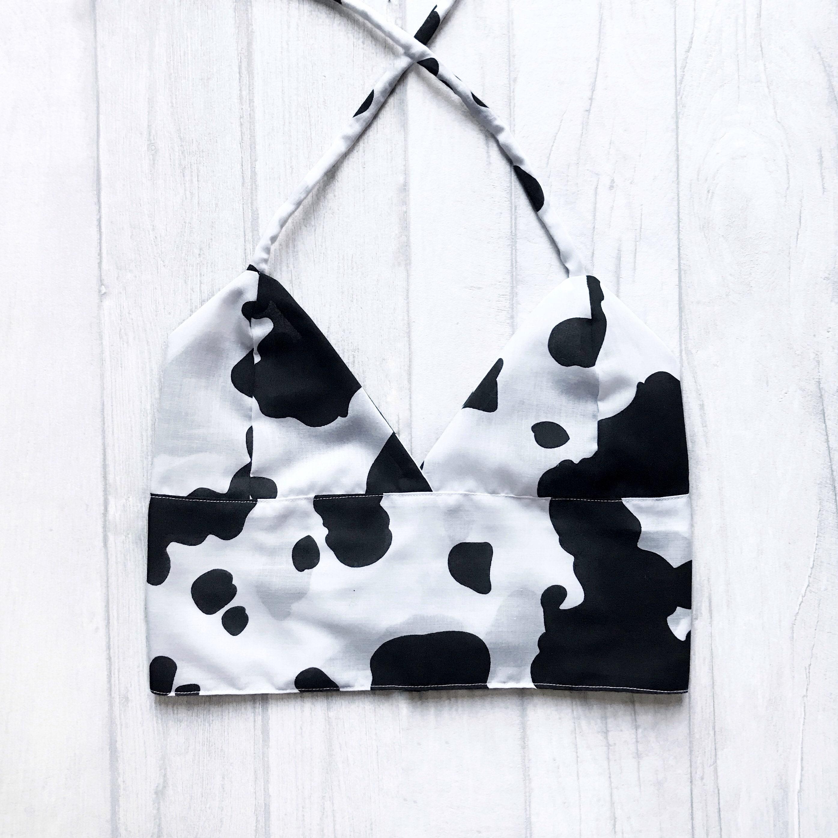 75ae3f509b25e Handmade cow print bralet uk sizes us custom cup etsy jpg 2790x2790 Cow  pattern bra