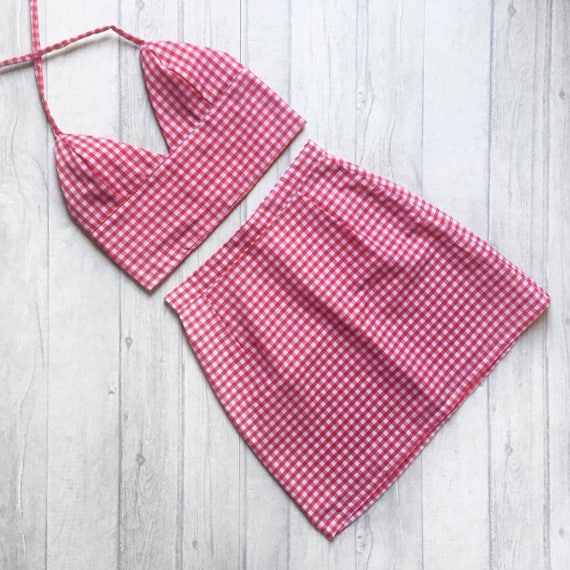 Red Gingham Co Ord / Two Piece Matching Set   Bralet And High Waisted Skirt. Uk 4 18 (Us 0 14) Available In Other Colours! Handmade To Order by Etsy