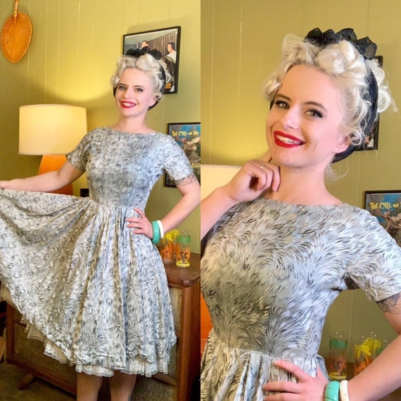 Vintage 1950s Dress • Icy Blue Metallic Swirl Prin