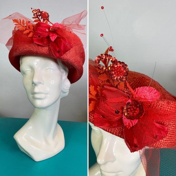 Vintage 1960s Hat • Red Straw Embellished Pillbox