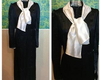 Vintage 1920s Dress - Black Silk White Ascot Day Dress - M