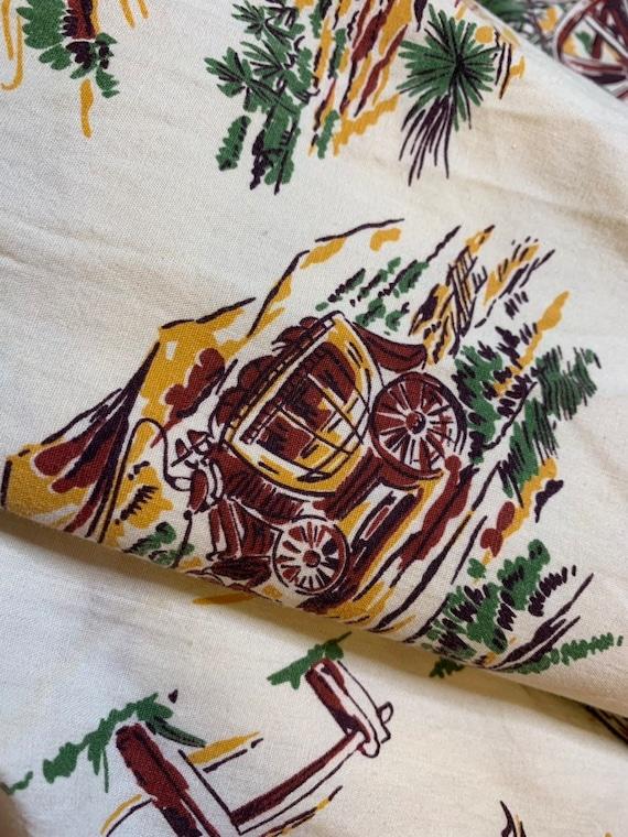Vintage 1950s Skirt • Western Novelty Print Skirt… - image 9