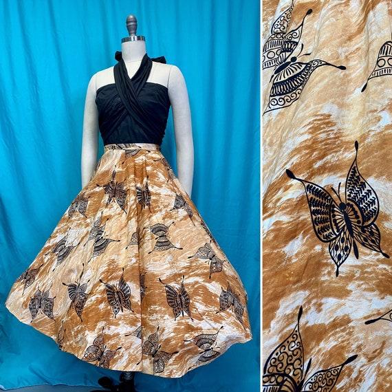 Vintage 1950s Skirt • Butterfly Novelty Print Oran