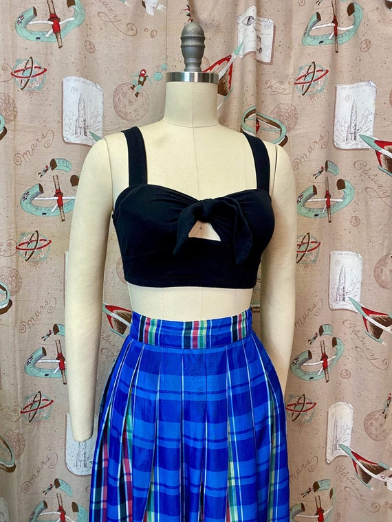 Vintage 1940s Skirt • Plaid Taffeta Blue Floor Le… - image 5