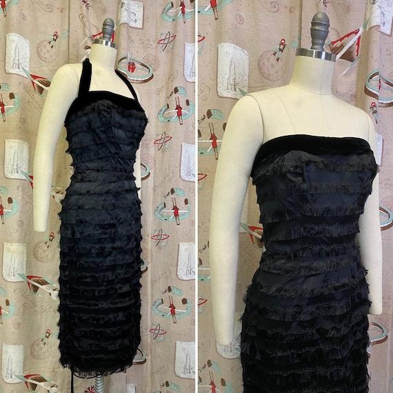 Vintage 1950s Dress • Bombshell Fringe Halter Wigg
