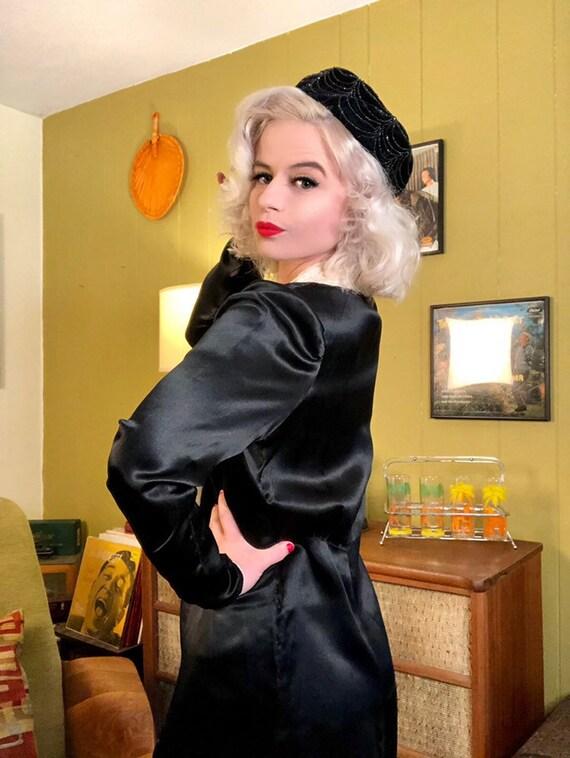 Vintage 1920s Dress • Black Silk White Ascot Day … - image 3