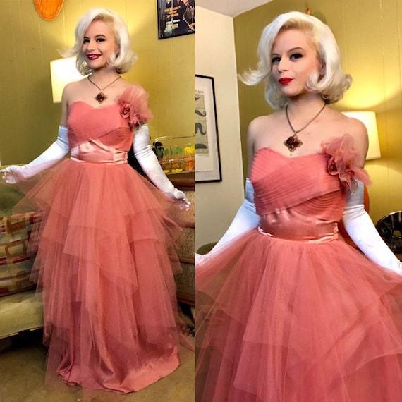 Vintage 1950s Dress • Pink Tulle Cupcake Dress wit