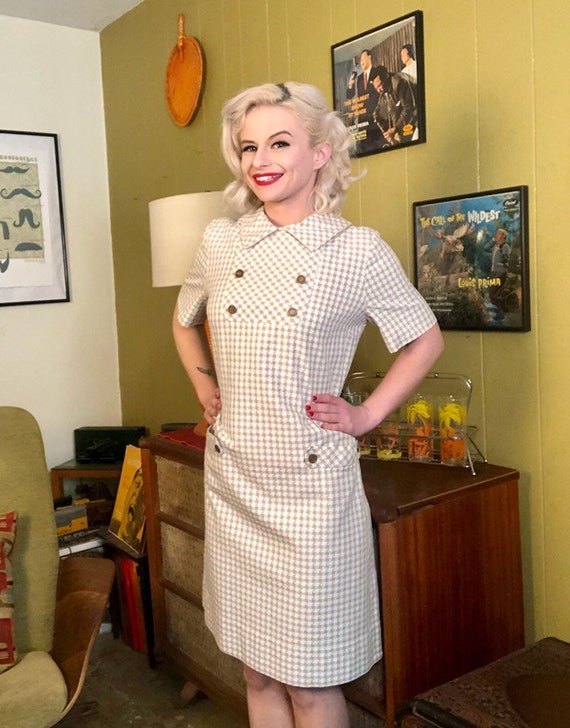 Vintage 1950s Dress • White & Brown Houndstooth D… - image 6