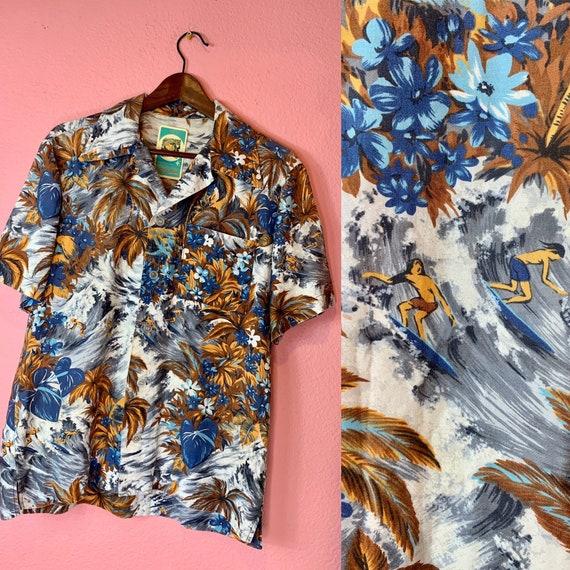 Vintage 1950s Shirt • Blue Surfer Scene Hawaiian S